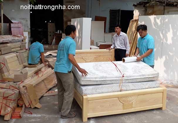 Giường ngủ gỗ sồi tự nhiên
