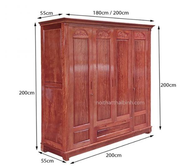 Kích thước tủ quần áo gỗ gội tự nhiên