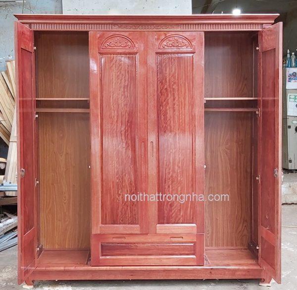 Bên trong tủ quần áo gỗ tự nhiên hiện đại