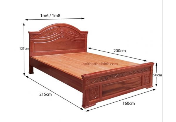 Kích thước giường ngủ gỗ tự nhiên đẹp