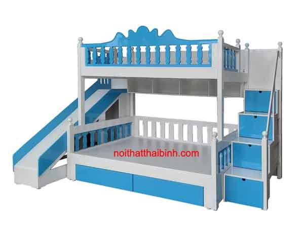 Giường tầng trẻ em màu xanh