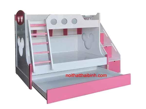 Giường 2 tầng đẹp màu hồng