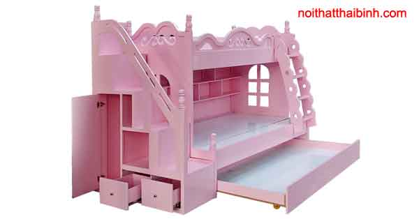 Giường tầng trẻ em màu hồng